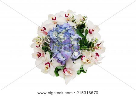 Bouquet flowers top view. Fresh bouquet with white orchid and hydrangea. Flower bouquet isolated on white.