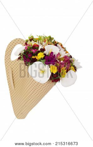 Bouquet flowers arrangement. Fresh bouquet with white callas and alstroemeria. Flower bouquet in paper box isolated on white.