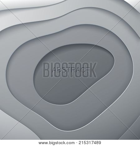 Abstract paper cut background. Grey paper layered cavity isolated on white. Origami or carving decorative frame. Topography concept. Vector illustration