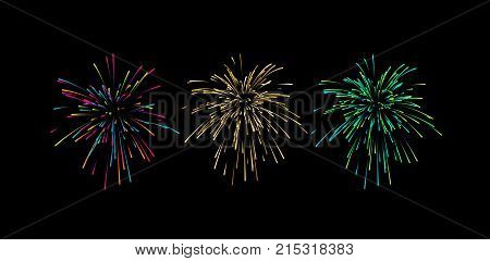 Colorful confetti or fireworks explosions isolated on black. Decorative elements for holiday design. Vector graphic illustration. Bursting colorful shapes.
