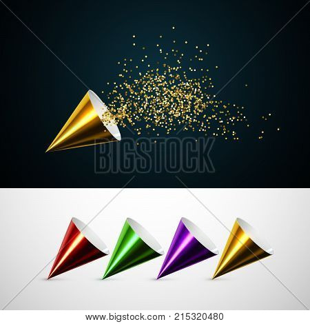 Golden party popper with exploding confetti glitters. Vector holiday illustration. Set of push pop. Glossy paper cones collection. Festive decoration element. Birthday, anniversary, wedding attribute.