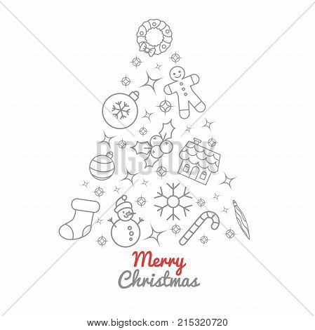 Christmas tree thin line icons. Christmas ornament decoration candy stick ginger house and men sock holly berry sparkles lights and stars. Vector illustration.
