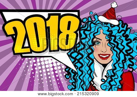 Cartoon smiling sexy girl say 2018 New year. Woman pop art greeting New Year. Vintage popart poster. Wow face kitsch vector illustration. Speech bubble. Comics book text radial background. poster