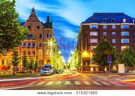 Scenic evening view of the Old Town architecture and city street in Helsinki, Finland