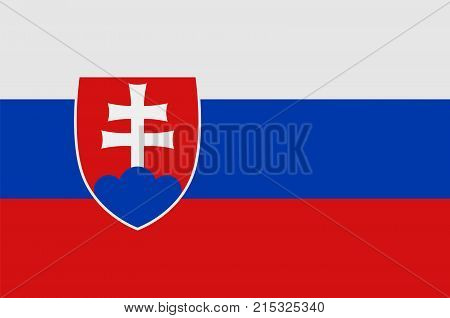 National symbol of Slovakia. Slovakia flag, official colors and proportion correctly. National flag. Vector illustration.