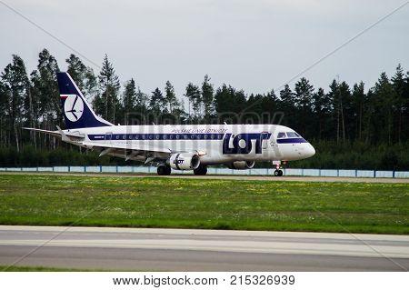 Minsk Minsk National Airport Belarus - September 06 2017: Emraer175 SP-LIK LOT LOT Polish Airlines