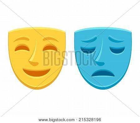 Drama theater masks sad blue and happy yellow. Comedy and tragedy optimistic and pessimistic personality vector illustration.