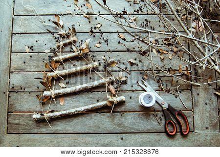 Handmade Christmas tree, preparation to the Christmas, Creative diy craft hobby. Making handmade craft christmas tree