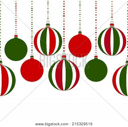 seamless vector border with christmas balls isolated on white background