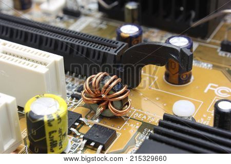 The Close-up mother board. High technology industry.