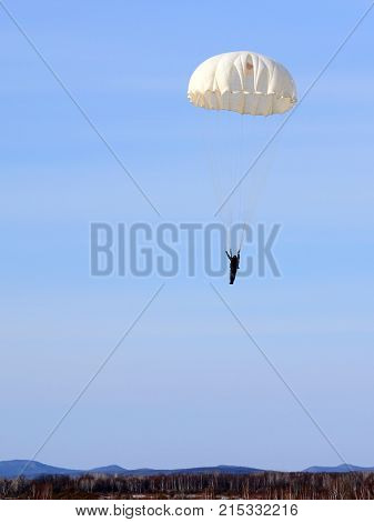 Parachutist Jumper in the helmet after the jump
