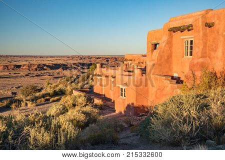 PETRIFIED FOREST AZ - OCTOBER 13, 2017: The Painted Desert Inn located within the Petrified Forest National Park Arizona