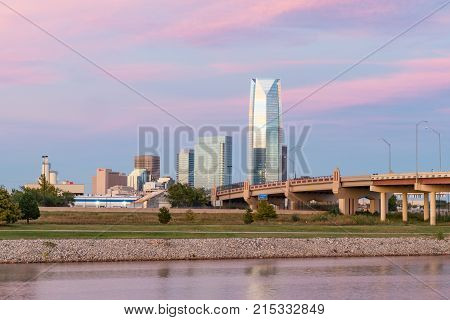 OKLAHOMA CITYOK - OCTOBER 11 2017: Skyline of Oklahoma City OK during sunset
