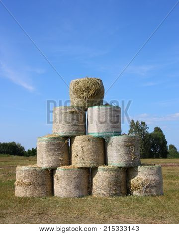 pyramid of a large bail of hay