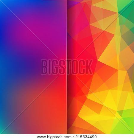 Abstract Background Consisting Of Blue, Red, Yellow Triangles. Geometric Design For Business Present