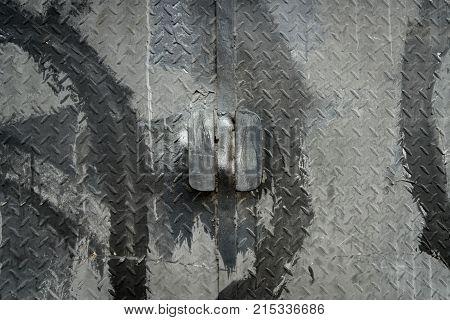 Metal door of an industrial factory gate / door shut securely