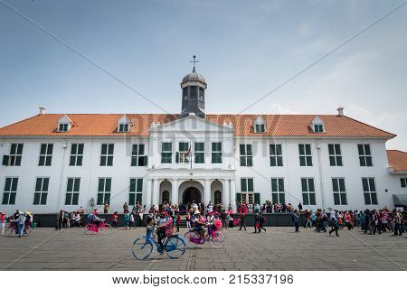 Jakarta, Indonesia - October 2017: Jakarta History Museum, formerly Stadhuis in Old Town Jakarta.