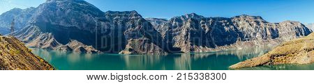 a beautiful lake with no background of high mountains and sky, an invigorating nature