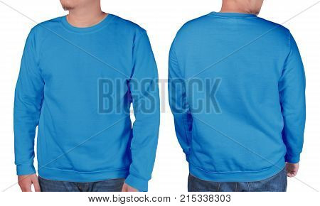 Blue Sweater Long Sleeved Shirt Mockup Template