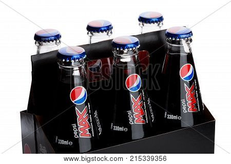 London, Uk - June 9, 2017: Pack Of Six With Glass Bottles Of Pepsi Cola Soft Drink On White.american