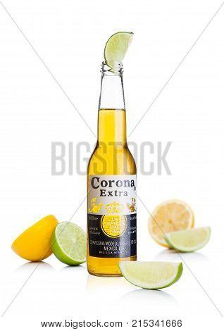 London, Uk - November 24, 2017: Bottle Of Corona Extra Beer With Lime Slice.corona, Produced By Grup