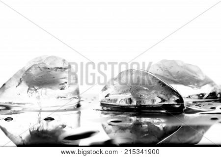 Frozen water as background / Ice is water frozen into a solid state. Depending on the presence of impurities such as particles of soil or bubbles of air, it can appear transparent