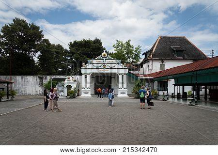 Yogyakarta, Indonesia - October 2017: Inside of Kraton Palace, the royal grand palace in Yogyakarta, Indonesia. Kraton Palace is a landmark and popular tourist destination in Yogyakarta.