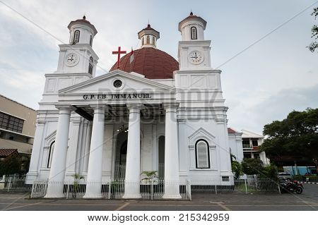 Semarang, Indonesia - October 2017: Lawang Sewu building architecture. Lawang Sewu is a landmark in the city of Semarang and built as the headquarters of the Dutch East Indies Railway Company