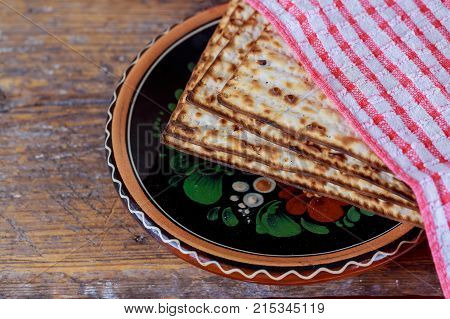Traditional Jewish Kosher Matzo For Passover Macro