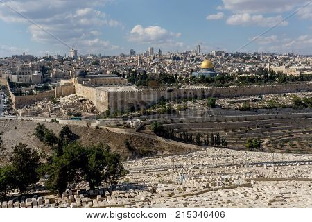 November 6, 2017: The temple mount and the graves from the mount of olives in front in Jerusalem