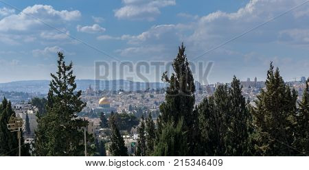 View of Jerusalem and The Dome of the Rock on the Temple Mount from the BYU Jerusalem Center Israel.