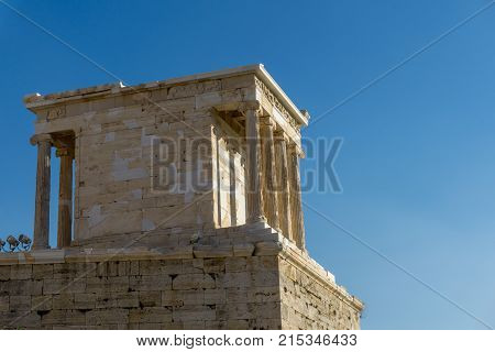 Ancient Temple of Erechtheion or Erechtheum at the Acropolis of Athens in Greece taken on 4 November 2017