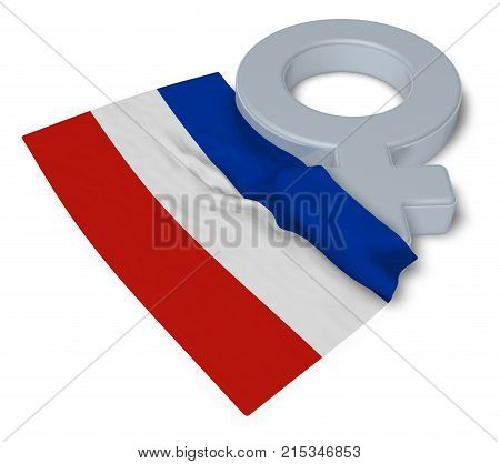 female symbol and flag of schleswig-holstein - 3d rendering