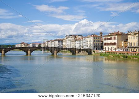 Bridge Ponte alla Carraia on a sunny September day. Florence, Italy