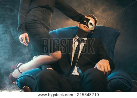 Business couple engage in sex games as a means of relaxation and unwinding. Woman domination. Secret life concept