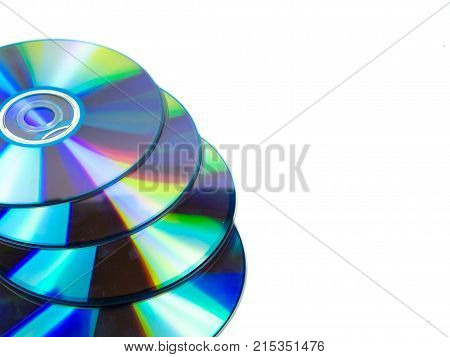 four compact disc on isolated white background