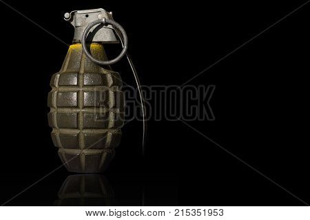 isolated hand bomb with black background and shining ground