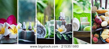 Organic cosmetics natural fruit oils. Concept spa skin care ecological and organic natural cosmetics. Collage set