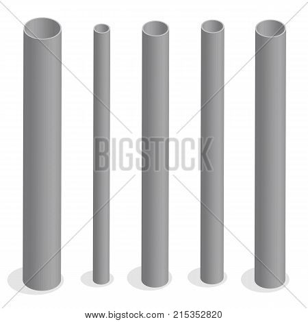 Steel pipes isolated on white background. Design elements for the construction and reconstruction. Flat 3D isometric style vector illustration.