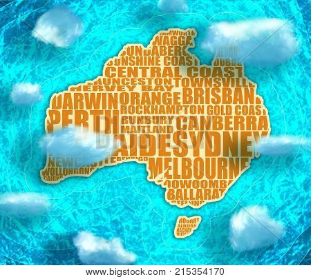 Map of Australia made from cities list. Blue and bright turquoise sea, yellow sand and clouds