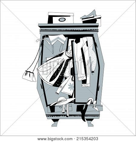 Wardrobe Overflowing with Clothes. Shopping Time. Vector illustration