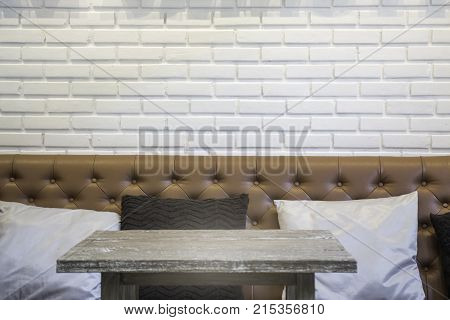 Wooden table top in coffee shop interior stock photo