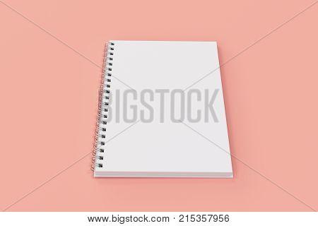 Opend Notebook Spiral Bound On Red Background