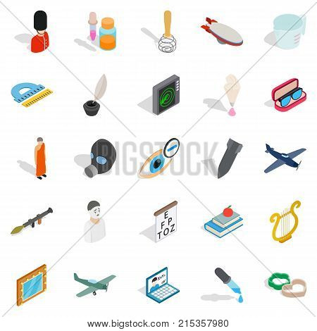 Thriller icons set. Isometric set of 25 thriller vector icons for web isolated on white background