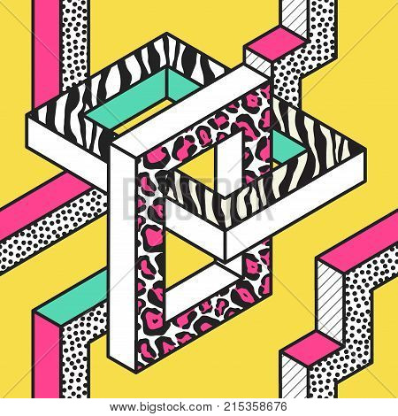Abstract Memphis Seamless Patterns with 3d Geometric Shapes. Fashion 80s 90s Fabric Design. Trendy Hipster Background. Vector illustration