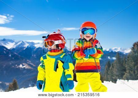 Ski And Snow Winter Fun For Kids. Children Skiing.