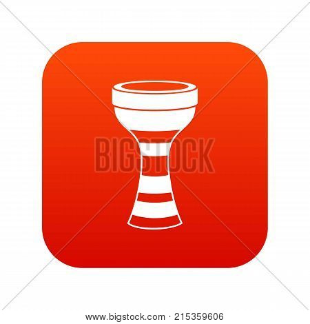 African drum icon digital red for any design isolated on white vector illustration