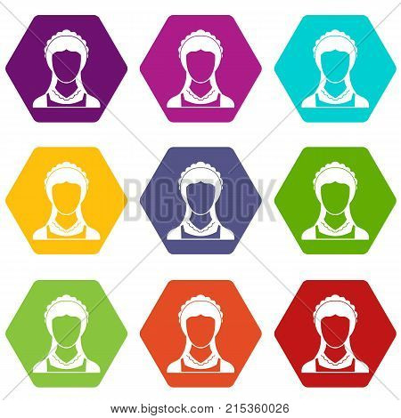 Cleaning household service maid icon set many color hexahedron isolated on white vector illustration