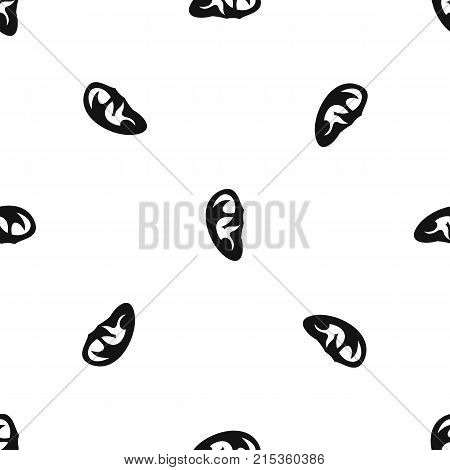 Ear pattern repeat seamless in black color for any design. Vector geometric illustration