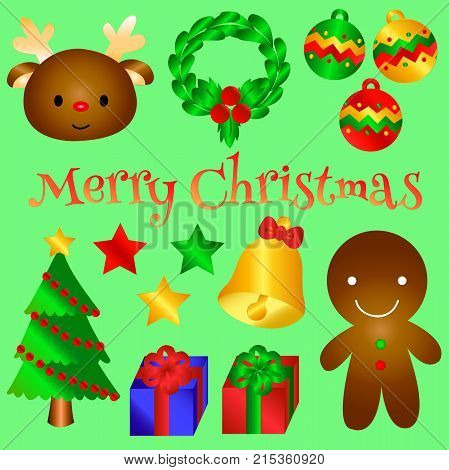 Lovely Christmas object for you. This is seasonal and holiday vector.We have rain dear, wreath, Christmas ball, star, Christmas tree, bell, gift box, ginger bread man. Version 2